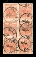 0010 ANTICHI STATI - LOMBARDO VENETO - 15 Cent (20) - Blocco Verticale Di Sei Con Piega Orizzontale Al Centro - Ottimi M - Non Classés