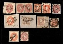 0014 ANTICHI STATI - LOMBARDO VENETO - 1850/1864 - Undici Frammenti Delle Diverse Emissioni Del Periodo Su Cartoncino -  - Timbres