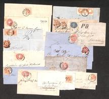 0016 ANTICHI STATI - LOMBARDO VENETO - 1852/1865 - 3 Frontespizi + 3 Bustine + 9 Lettere Con Affrancature Del Periodo -  - Non Classés