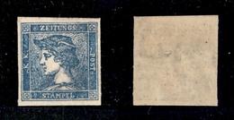 0020 ANTICHI STATI - LOMBARDO VENETO - 1855 - 3 Cent Azzurro Giornali (3 - Terzo Tipo) Nuovo Con Piena Gomma E Leggera T - Timbres