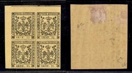 0024 ANTICHI STATI - MODENA - 1852 - 15 Cent Giallo (3) In Quartina Angolare - Gomma Integra Per La Coppia Inferiore - S - Timbres