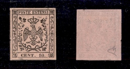 0026 ANTICHI STATI - MODENA - 1852 - 10 Cent (9) - Nuovo Con Gomma/lieve Traccia Di Linguella - Diena + Cert. AG (800) - Non Classés