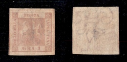0030 ANTICHI STATI - NAPOLI - 1858 - 1 Grano Rosa Carminio (4d - Carta Sottile) - Senza Gomma - Molto Bello (900) - Timbres