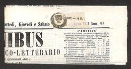 0033 ANTICHI STATI - NAPOLI - Mezzo Tornese (17) Isolato Su Giornale Omnibus Del 30.5.61 - Ben Marginato - Diena + Cert. - Timbres