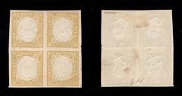 0037 ANTICHI STATI - NAPOLI - Province Napoletane - 1859 - 80 Cent Giallo Oliva - Blocco Di Quattro Con Effigi Postume C - Non Classés