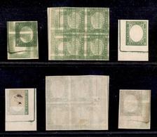 0038 ANTICHI STATI - NAPOLI - Prove Di Stampa (senza Effigie) - 5 Cent Verde - Tre Pezzi Diversi - Due Con Stampe Multip - Non Classés