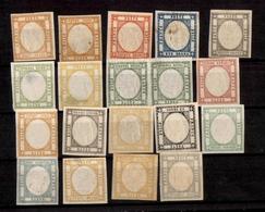 0040 ANTICHI STATI - NAPOLI - 1861 - Effigi Capovolte - 19 Pezzi Su Cartoncino - Qualità Mista - Da Esaminare Con Attenz - Non Classés