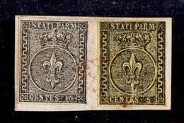 0041 ANTICHI STATI - PARMA - Frammento Con 10 Cent (2) + 5 Cent (1) Annullati Con Griglietta In Rosso - Ottimi Margini - - Non Classés