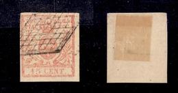 0043 ANTICHI STATI - PARMA - 1859 - 15 Cent Vermiglio Chiaro (9a) - Usato - Bellissimo - Cert. AG (600) - Timbres