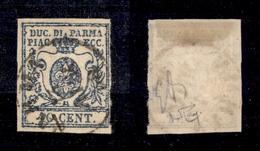 0044 ANTICHI STATI - PARMA - 1857 - 40 Cent Azzurro Scuro (11a) - Preciso A Destra - Cert. Raybaudi - In Ottimo Stato (1 - Non Classés