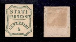 0045 ANTICHI STATI - PARMA - 1859 - 5 Cent (12) - Senza Gomma - Molto Bello - Cert. AG (1.500) - Timbres