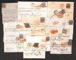 0048 ANTICHI STATI - PONTIFICIO - 1858/1859 - Dodici Lettere D'archivio Da Roma (una Da Frascati) Per Napoli Del Periodo - Timbres