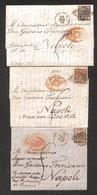 0049 ANTICHI STATI - PONTIFICIO - 1858/1859 - 5 Bai (6) - Tre Lettere D'archivio Da Roma A Napoli Col 5 Baj (6) Isolato  - Timbres