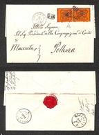 0056 ANTICHI STATI - PONTIFICIO - Coppia Del 10 Cent Arancio Vermiglio (26c) Su Lettera Da Corneto (Pt.5) + PD A Pollenz - Timbres