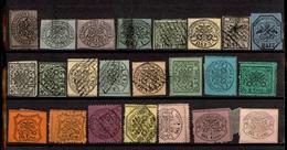 0057 ANTICHI STATI - PONTIFICIO - 1852/1868 - Cartoncino Con 23 Esemplari Del Periodo - Da Esaminare - Timbres