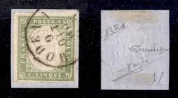 0068 ANTICHI STATI - SARDEGNA - 1859 - 5 Cent Oliva Grigio Chiaro (13Bd) - Raybaudi (725) - Timbres