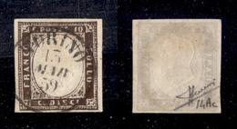 0069 ANTICHI STATI - SARDEGNA - 1859 - 10 Cent Bruno Porpora (14Ac) - Sorani (1.000) - Timbres
