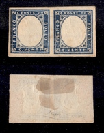 0072 ANTICHI STATI - SARDEGNA - 1860 - Coppia Del 20 Cent Azzurro Grigio (15Cc) Con Effigi Capovolte - Nuova Con Gomma - - Timbres