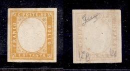 0073 ANTICHI STATI - SARDEGNA - 1863 - 80 Cent Giallo Arancio (17B) Senza Effige - Gomma Integra - Biondi - Timbres
