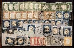 0074 ANTICHI STATI - SARDEGNA - 1859/1863 - Cartoncino Con 57 Esemplari Del Periodo - Molto Interessante - Da Esaminare - Timbres