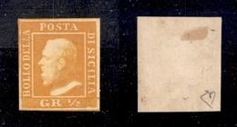 0075 ANTICHI STATI - SICILIA - 1859 - Bellissimo Mezzo Grano Arancio (2) - Nuovo Con Gomma - Diena + Cert. AG (1.200) - Timbres
