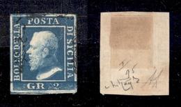 0076 ANTICHI STATI - SICILIA - 1859 - 2 Grana Cobalto Scuro (6c) Posizione 95 - Molto Bello - Diena + Raybaudi (900) - Non Classés