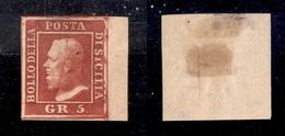 0077 ANTICHI STATI - SICILIA - 1859 - 5 Grana Rosso Sangue (9c) - Grandi Margini E Bordo Foglio (tratto E Macchia Di Col - Timbres
