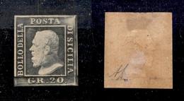 0079 ANTICHI STATI - SICILIA - 1859 - Bellissimo 20 Grana Grigio Ardesia (13) - Nuovo Con Gomma - Diena + Cert. AG (1.65 - Timbres