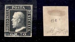 0080 ANTICHI STATI - SICILIA - 1859 - 20 Grana Ardesia Scuro (13c) - Senza Gomma - Diena + Cert. Raybaudi (415) - Non Classés