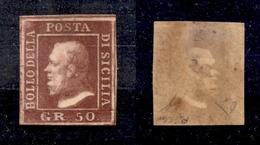 0081 ANTICHI STATI - SICILIA - 1859 - 50 Grana Lacca Bruno (14) - Nuovo Con Gomma - Diena (1.650) - Timbres