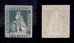 0084 ANTICHI STATI - TOSCANA - 1851 - 2 Crazie Azzurro Verdastro Chiaro (5e) - Senza Gomma - Tre Grandi Margini Ma Corto - Non Classés