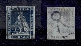 0085 ANTICHI STATI - TOSCANA - 1851 - 6 Crazie Azzurro (7c) Su Carta Azzurra - Molto Bello - Oliva + Cert. AG (600) - Non Classés