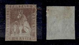 0087 ANTICHI STATI - TOSCANA - 1851 - 9 Crazie Bruno Violaceo Su Carta Azzurra (8b) - Corto In Orizzontale (40.000) - Timbres