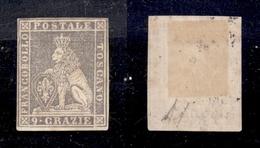 0088 ANTICHI STATI - TOSCANA - 1851 - Prove - 9 Crazie Viola Bruno Chiaro (P8) - Molto Bello - Diena + Cert. AG (225) - Timbres