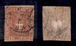 0096 ANTICHI STATI - TOSCANA - 1860 - 40 Cent Carminio Rosa (21b) - Preciso In Basso A Destra - Sorani (600) - Non Classés