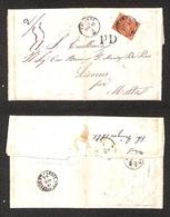 0097 ANTICHI STATI - TOSCANA - 80 Cent Carnicino (22) Isolato Su Lettera Da Firenze A Malta Del 14.6.61 - Testo All'inte - Timbres