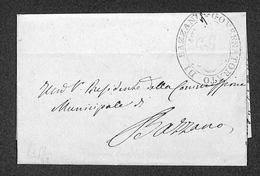 """0102 RISORGIMENTO ITALIANO - """"Governatorato Di Bazzano"""" In Ovale Su Lettera In Franchigia Del 22.7.1859 - Timbres"""