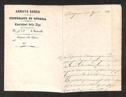 """0103 RISORGIMENTO ITALIANO - Interno Di Lettera Da Bergamo Del 13.8.1859 Delle Truppe Garibaldino Intestata """"Armata Sard - Non Classés"""