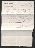 """0104 RISORGIMENTO ITALIANO - Interno Di Lettera Da Modena Del 10.10.1859 Autografata M.Fanti Intestata """"Comando Generale - Timbres"""
