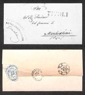 0109 RISORGIMENTO ITALIANO - Da Tivoli (SD Annullo Sconosciuto In Questo Periodo) Su Lettera In Franchigia Per Montecati - Timbres