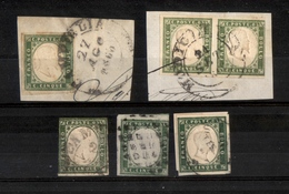 0111 REGNO - 1861/1863 - 5 Cent (13C/13E) - 5 Pezzi Usati - Colori Diversi - Annullamenti Toscani - Qualità Mista - Da E - Timbres