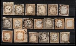 0112 REGNO - 1861/1863 - 10 Cent (14C/14E) - 19 Pezzi Usati - Colori Diversi - Qualità Mista - Da Esaminare - Timbres