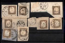 0113 REGNO - 1861/1862 - 10 Cent (14C/14D) - 8 Pezzi Usati Su Frammenti - Colori Diversi - Annulli Toscani - Qualità Mis - Non Classés