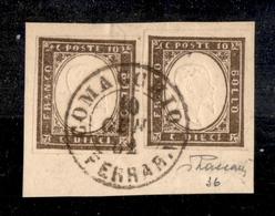 0114 REGNO - 1861 - 10 Cent Bruno (14Cp) - Due Pezzi Ben Marginati Su Frammento Da Comacchio (Ferrara) Del 10.1.62 - Vac - Timbres