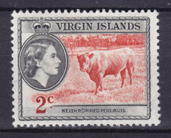 British Virgin Islands 1956 Mi. 113     2 C Queen Elizabeth II & Nelthrop Red Poll Bull MH* - British Virgin Islands