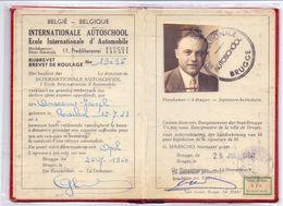 Rijbrevet Internationale Autoschool Brugge - Anseeuw Roeselare 1960 - Titres De Transport