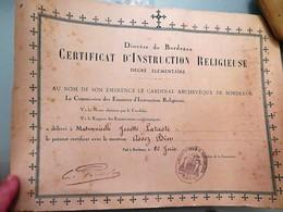 Certificat D Instruction Religieuse, Diocèse De BORDEAUX, 26 Juin 1935 - Diploma & School Reports