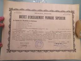 Brevet D'Enseignement Primaire Supérieur, Académie De Bordeaux, 20 Novembre 1940 - Diplômes & Bulletins Scolaires