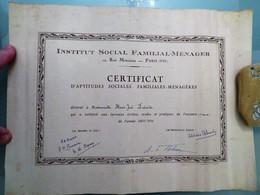 Certificat D'APTITUDES SOCIALES, FAMILIALES MENAGERES, Institut Social Familial Ménager, Paris, 1943/1944 - Diploma & School Reports