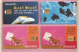 France, Lot De 4 Télécartes, SNCF, Eurostar, RER, Service Billet à Domicile TB - Phonecards